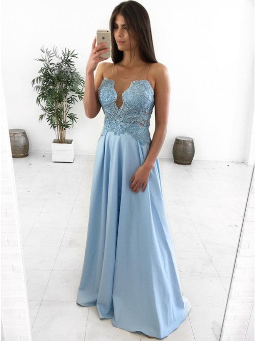 A-Line Illusion Round Neck Floor-Length Light Blue Prom Dress with Appliques,AE064