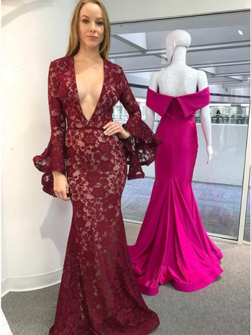 Mermaid Deep V-Neck Long Sleeves Floor-Length Dark Red Lace Prom Dress,AE068