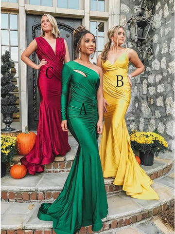 Mermaid One-Shoulder Long Sleeve Sweep Train Green Ruched Prom Dress,AE069