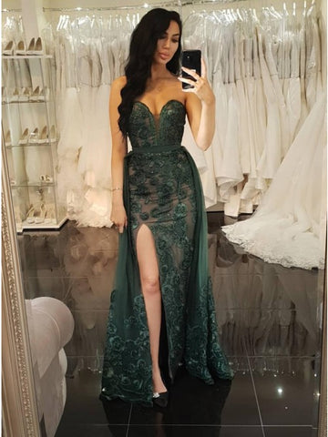 Sheath Sweetheart Floor-Length Dark Green Detachable Prom Dress with Appliques Split,AE071