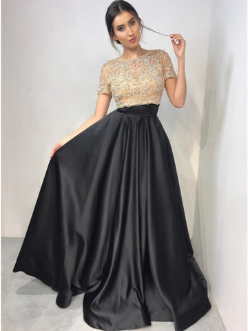 Two Piece Crew Short Sleeves Floor-Length Black Prom Dress with Beading,AE072