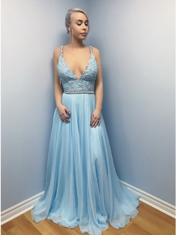 A-Line Straps Sweep Train Light Blue Chiffon Prom Dress with Appliques Beading,AE077