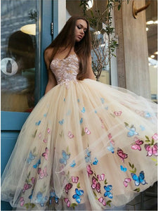 A-Line Sweetheart Tea-Length Beige Tulle Prom Dress with Appliques Pleats,AE078