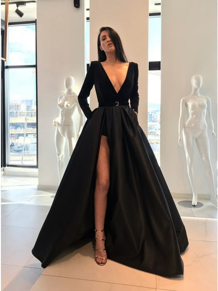 A-Line V-Neck Long Sleeves Sweep Train Black Prom Dress with Split Pockets,AE080