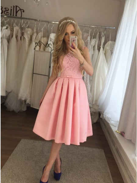 A-Line Crew Neck Lace Pleats Knee-Length Pink Homecoming Dress,AE088