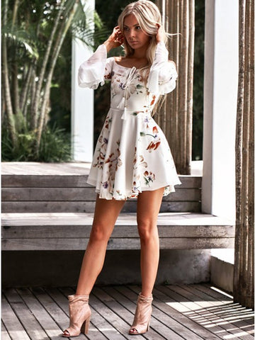 Off the Shoulder Floral Print Chiffon Short Homecoming Dress with Bell Sleeves,AE099