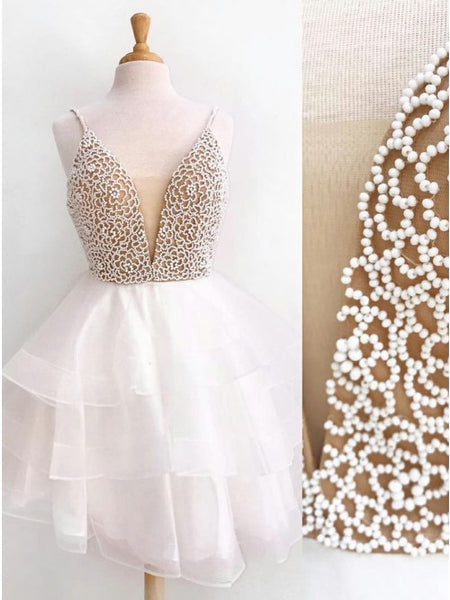 V-neck Beading Spaghetti Ivory Knee Length Homecoming Dress with?Tiered Skirt,AE100