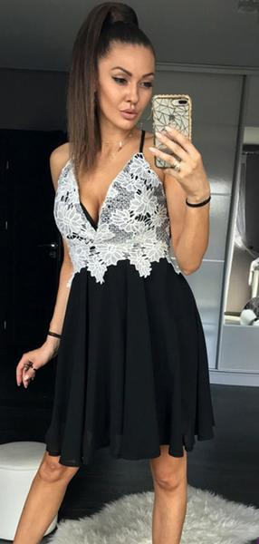 A-Line Deep V-Neck Spgahetti Straps Black Homecoming Dresses With Appliques,AE135