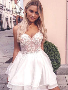 A-Line Sweetheart Spaghetti Straps Homecoming Dresses With Appliques,AE136