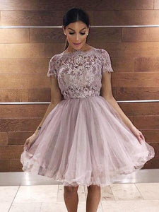 A-Line Round Neck Short Sleeves Tulle Homecoming Dresses With Lace,AE139
