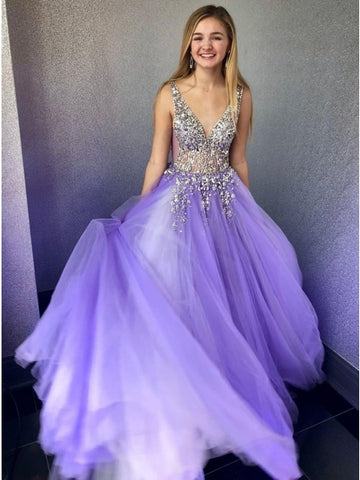 A-Line V-Neck Sleeveless Floor-Length Lilac Tulle Prom Dress with Beading,AE159