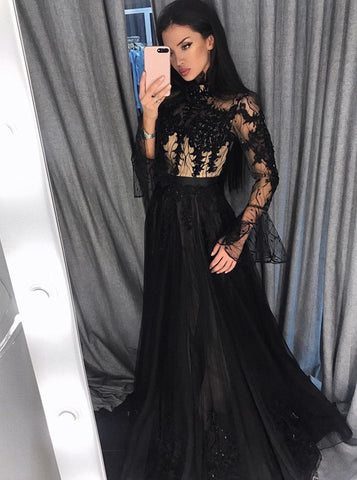 A-Line High Neck Long Sleeves Black Long Prom Dress with Appliques Beading,AE161