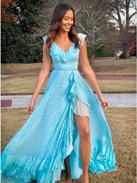 A-Line V-Neck Lace Up Light Blue Chiffon Long Prom Dress with Beading Split,AE162