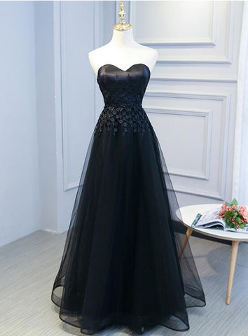 Black Sweetheart Lace And Tulle Long Party Dress, Elegant Bridesmaid Dress,AE182