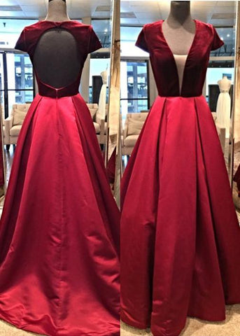 Burgundy V Neck Open Back Long Prom Dresses A Line Evening Dresses,AE191