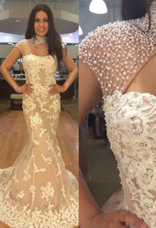 High Neck Cap Sleeves Lace Prom Dresses Mermaid Evening Dresses With Beaded,AE192