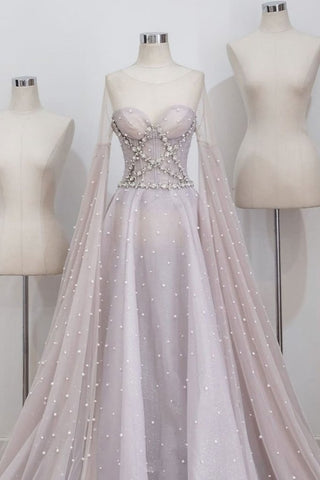 Unique round neck tulle long prom dress, gray evening dress,AE228
