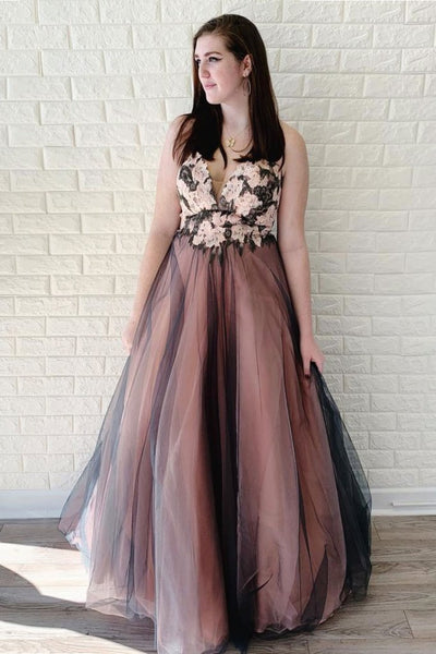 Black tulle lace long prom dress, black tulle evening dress,AE247
