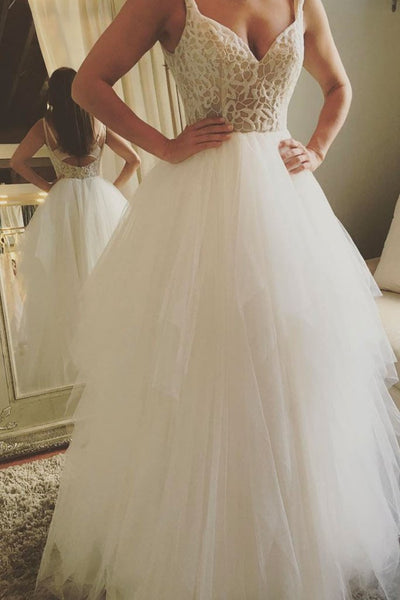 White round neck tulle long prom dress, white evening dress,AE264