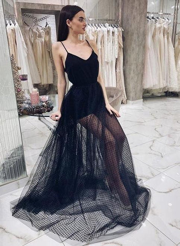 Sexy Spaghetti Straps Black Long Prom Dresses Evening Gowns for Women,AE328