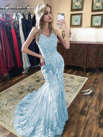 Sweetheart Mermaid Blue Prom Dresses with Appliques Lace,AE329