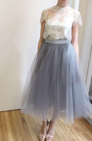 Charming Tulle Homecoming Dresses Tea Length Prom Dresses with Lace,AE330