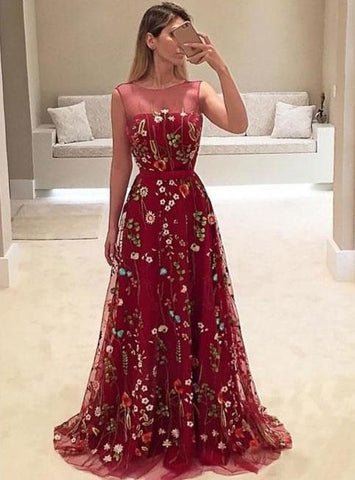 Sheer Neck Burgundy Red Long Prom Dresses with Appliques Flowers,AE331