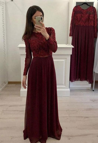 Burgundy/Navy Blue Long Sleeves Prom Dresses with Appliques,AE333