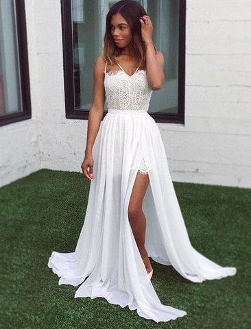 Elegant White Long Prom Dresses with Lace,AE335