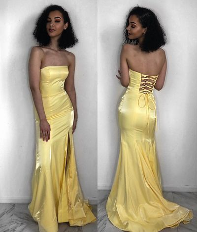 Strapless Mermaid Yellow Formal Dress,AE369