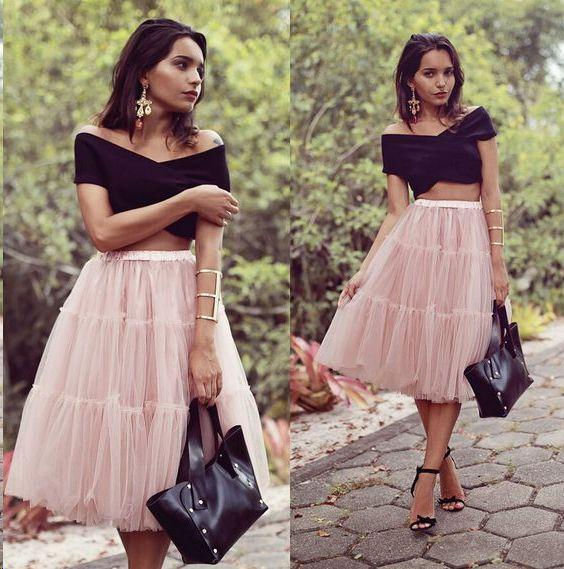 2 Pieces Black Top Homecoming Dresses, Pink Skirt Homecoming Dresses,AE395