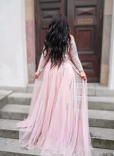 Cheap prom dresses Charming Prom Dress,Long Sleeve Evening Dress with Slit,AE420