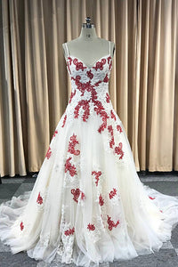 A-line Spaghetti Straps Long Prom Dresses Sweep Train Applique Formal Dresses Quinceanera Dress,AE429