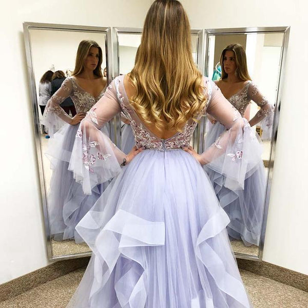 Elegant Lilac V-Neck Long Sleeve Zipper Up Asymmetrical Tulle Prom Dresses With Appliques, Beading Prom Dresses,AE434