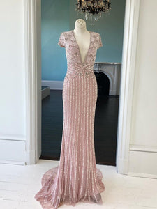 Blush Pink Sparkly Long Prom Dresses Short Sleeve V neck Beaded Custom Evening Dress Formal Gowns ,AE437