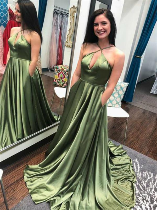 A-Line Halter Sleeveless Cheap Prom Dresses With Pocket,AE444