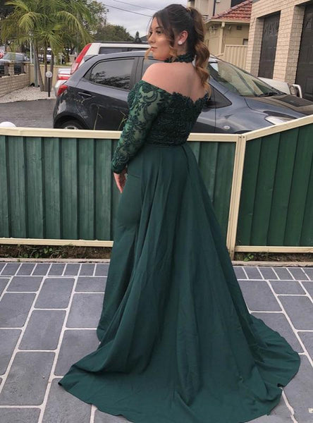 Off-shoulder Long Sleeves Green Lace Prom Dresses,AE445