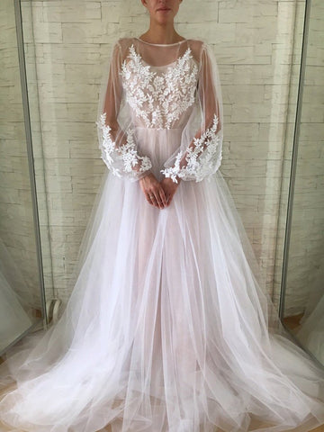 A-line Scoop Long Sleeve Wedding Dress Gorgeous Long Formal Dresses,AE448
