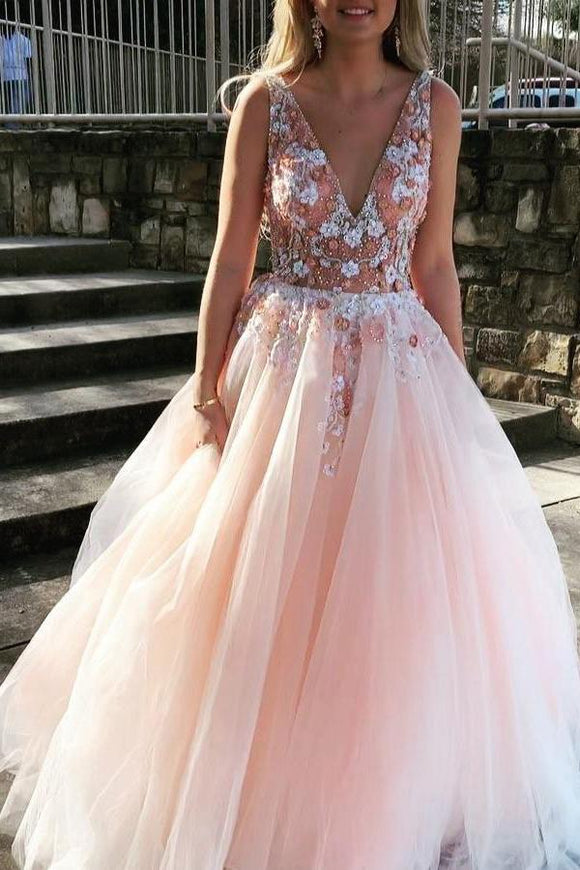 Gorgeous Backless Tulle Deep V Neck Appliques Prom Dresses with Beaded,AE450