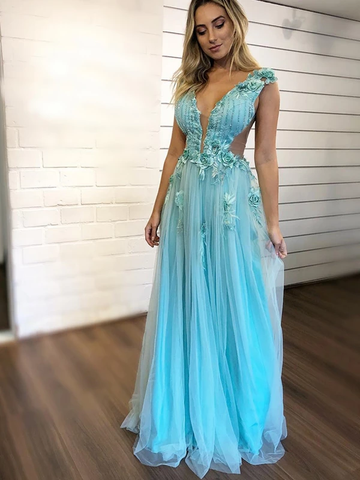 Tiffany Blue Handmade Flower Applique Tulle Charming Prom Dresses,AE477