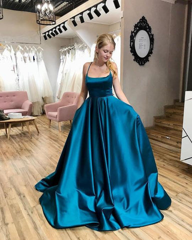 SIMPLE BLUE BALL GOWN PROM DRESSES, LONG PROM DRESS, PROM DRESS,AE482