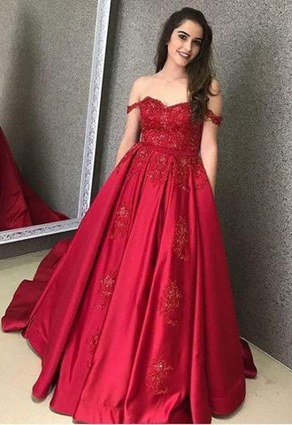 OFF THE SHOULDER SWEETHEART LONG SATIN BURGUNDY PROM DRESS QUINCENERA DRESS WITH LACE APPLIQUE,AE483