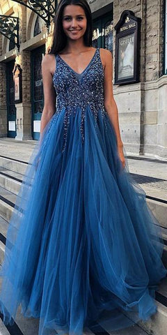 BEAUTIFUL V-NECK LONG PROM DRESSES WITH BEADING, CUSTOM-MADE SCHOOL DANCE DRESS, FASHION GRADUATION PARTY DRESS,AE484