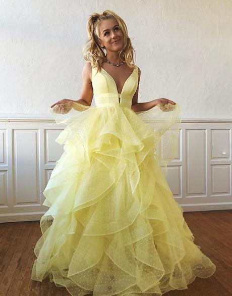 YELLOW V NECK TULLE LONG PROM DRESS, YELLOW EVENING DRESS,AE485