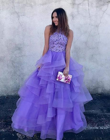 PURPLE PROM DRESS, LONG PROM DRESS, TULLE LACE EVENING DRESS,AE487