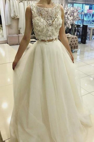 CUTE TWO PIECES WHITE LACE TULLE LONG PROM DRESS, WHITE EVENING DRESS,AE488