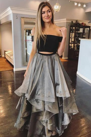 2019 NEW COMING GRAY TWO PIECES PROM DRESS, GRAY TULLE EVENING DRESS,AE490