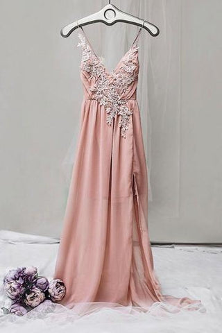 PINK V NECK CHIFFON LACE LONG PROM DRESS FOR TEENS, PINK EVENING DRESS,AE491