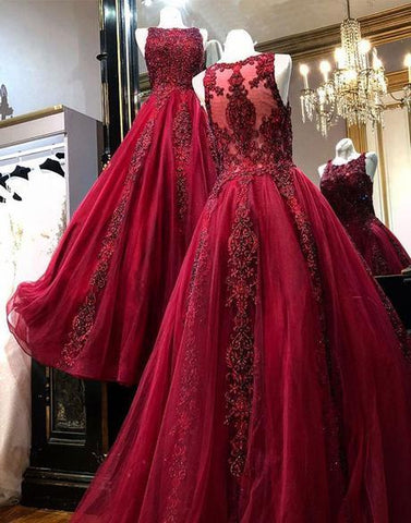 BURGUNDY TULLE LACE LONG PROM DRESS, BURGUNDY TULLE LACE EVENING DRESS,AE493