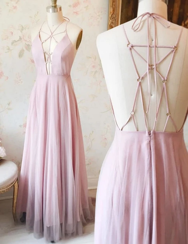 UNIQUE PINK V NECK CHIFFON LACE PROM DRESS, CUTE PINK EVENING DRESS,AE494